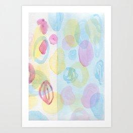 Pink blue yellow abstract watercolor Art Print