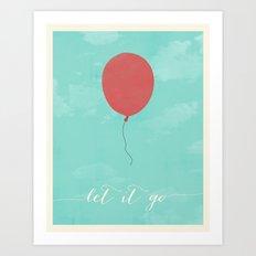 LET IT GO - RED BALLOON Art Print