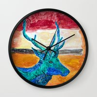 rothko Wall Clocks featuring Deer Rothko by winterkl