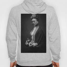 Frida Kahlo Portrait with fruit from Frida's Garden at Casa Azul, Mexico black and white photograph Hoody