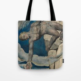 "William Blake ""Antaeus setting down Dante and Virgil in the Last Circle of Hell"" Tote Bag"