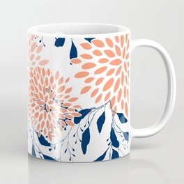 Floral Prints and Leaves, White, Coral and Navy Coffee Mug