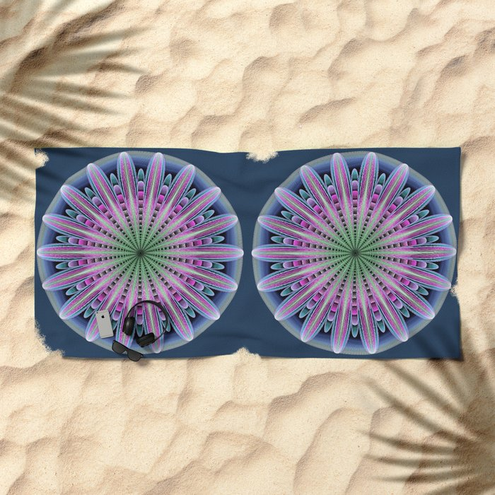 Artistic fantasy flower mandala Beach Towel
