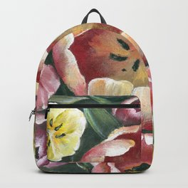 Colorful Spring Tulips Painting Backpack