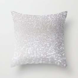 Silver ice - glitter effect- Luxury design Throw Pillow