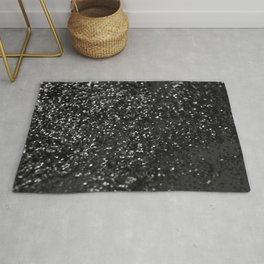 Black & Silver Glitter #1 #decor #art #society6 Rug