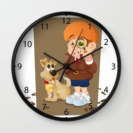 Smart young cartoon detective boy and his dog Wall Clock