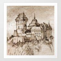 castle Art Prints featuring Castle by Bunny Noir