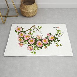 Vintage Japanese Cherry Blossoms, Pink and Gold Rug