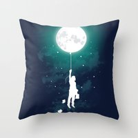 balloon Throw Pillows featuring Burn the midnight oil  by Picomodi