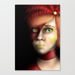 """Fille en Plumes Rouges"" Canvas Print"