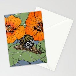 Snail on Nasturtiums Stationery Cards