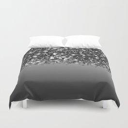 Black & Gunmetal Gray Silver Glitter Ombre Duvet Cover