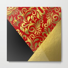 Gold Red Swirls with Triangle Flap Accents Metal Print