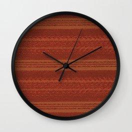Big Stich Terracotta Brown - Knitting Fabric Art Wall Clock