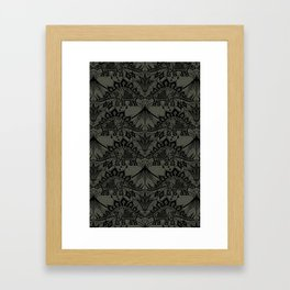 Stegosaurus Lace - Black / Grey - Framed Art Print