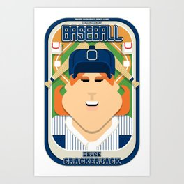 Baseball Blue Pinstripes - Deuce Crackerjack - Jacqui version Art Print