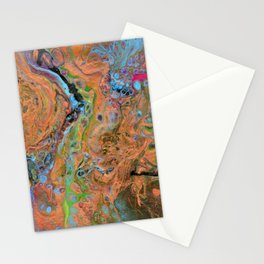 Fluid Copper - Abstract, original, fluid, acrylic painting Stationery Cards