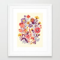 animal crew Framed Art Prints featuring The Garden Crew by Teagan White