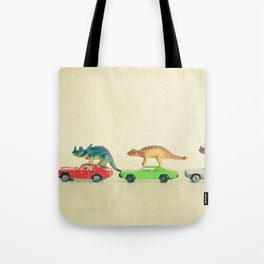 Dinosaurs Ride Cars Tote Bag