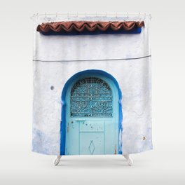 Blue Iron Door Shower Curtain