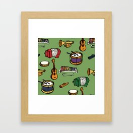 Toy Instruments on Green Framed Art Print