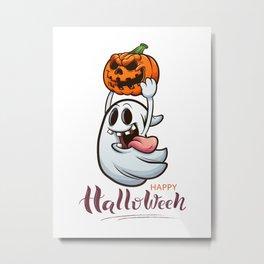 Drawn Ghosts And Pumpkins Set, Happy Halloween, Design No 01 Metal Print