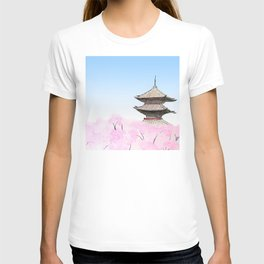 Temple and sakura T-shirt