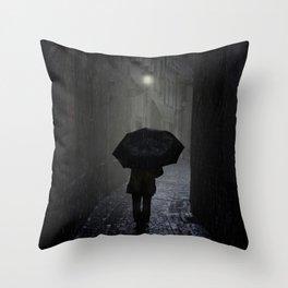 Night walk in the rain Throw Pillow