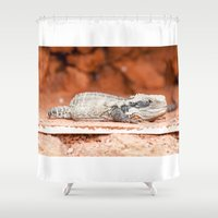 lizard Shower Curtains featuring Lizard by Marcel Derweduwen