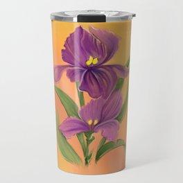 Purple Iris in warm sunshine Travel Mug
