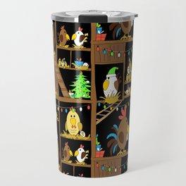 Chicken Coop Christmas - by Kara Peters - funny chickens, holidays Travel Mug