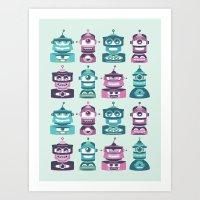 ROBOT HEADS I Art Print