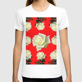 WHITE ROSES RED GARDEN DESIGN T-shirt