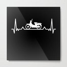 Moped Biking Heartbeat Line Funny Gift Metal Print