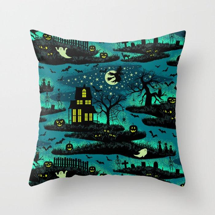 Halloween Night - Fox Fire Green Throw Pillow