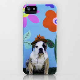 English Bulldog Puppy Wearing a Hat in front of a Spring Background with Tall Flowers iPhone Case