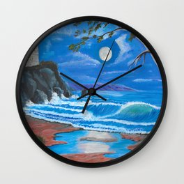 Lighthouse on the cliff Wall Clock