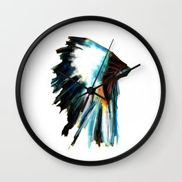 Indian Headdress Native America Illustration Wall Clock