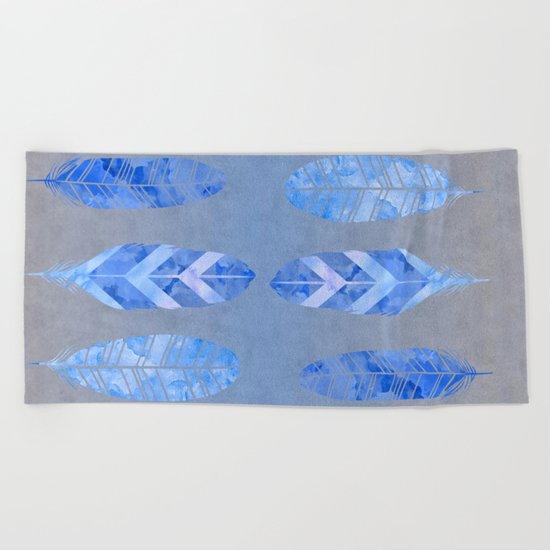 Blue Feather watercolor art Beach Towel