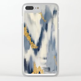 Blue and Cream Abstract Clear iPhone Case
