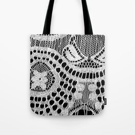 White Lace Pattern Tote Bag