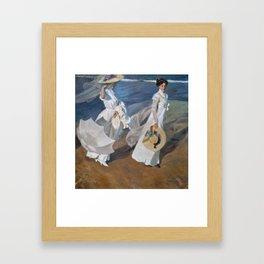 Joaquin Sorolla Y Bastida - Strolling along the seashore Framed Art Print