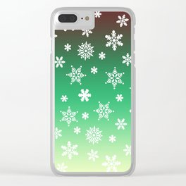 Snow Flurries-Green/Cream Ombre Clear iPhone Case