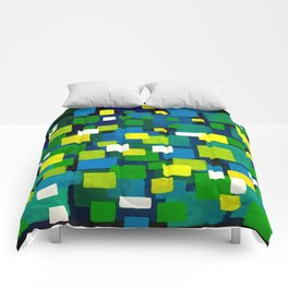 """Original Abstract Acrylic Painting by  """"City Lights"""" Colorful Geometric Square Pattern Gre Comforters"""