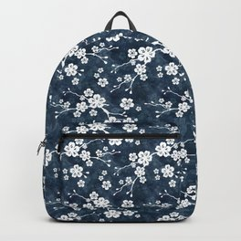 Navy and white cherry blossom pattern Backpack