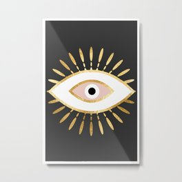 gold foil evil eye in blush Metal Print