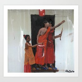 three young monks Art Print