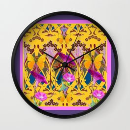 Puce Grey & Yellow Art Nouveau Fuchsia Floral Patterns Wall Clock