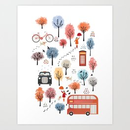 London transport with an adult female Art Print